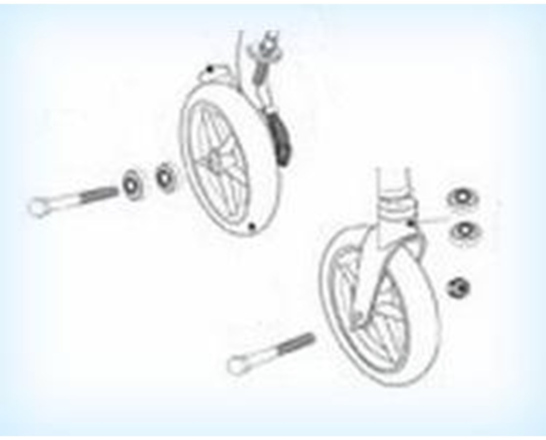 Wheel Assembly for Drive 726 Rollator, Front/Rear DRI9501S72600