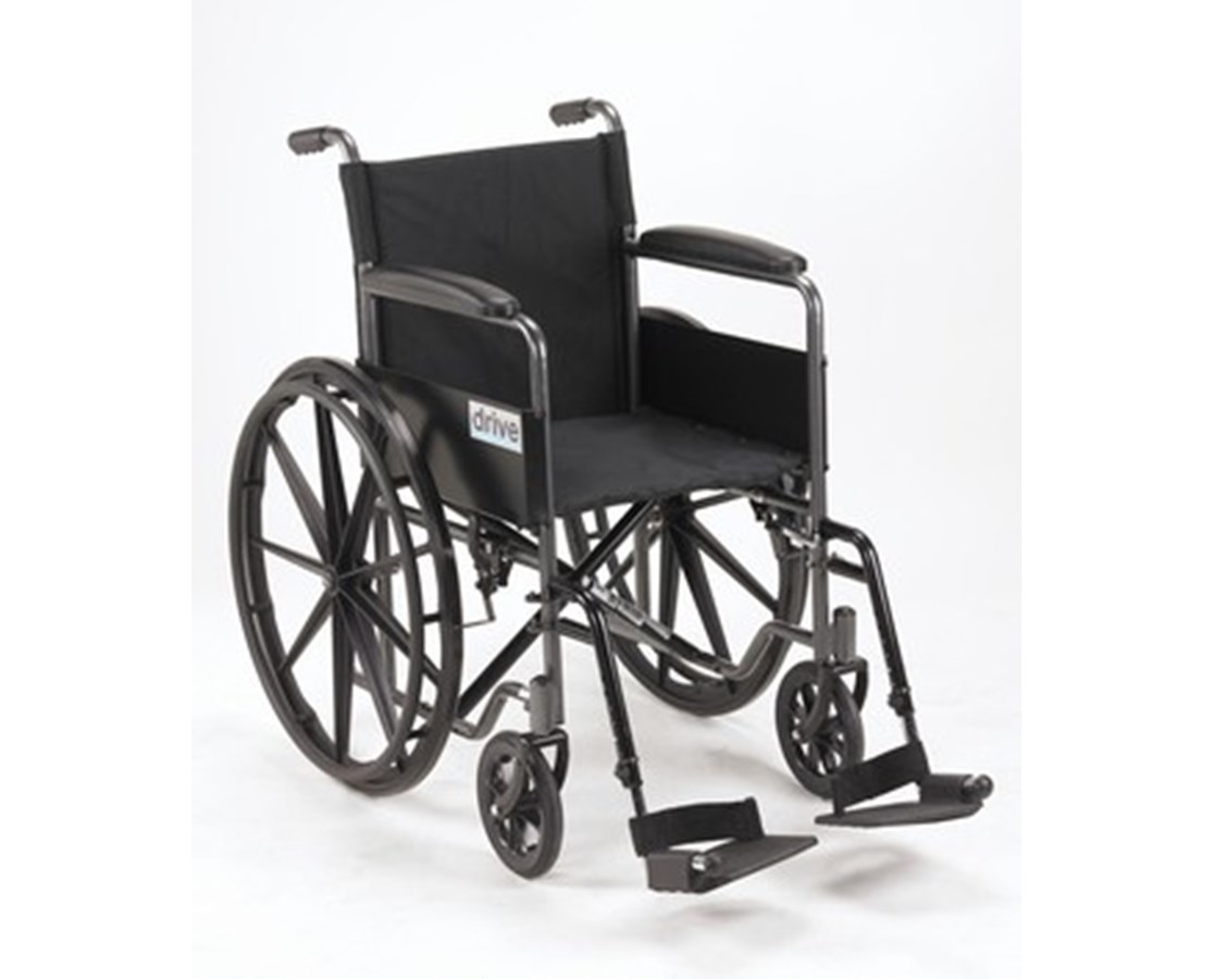Silver Sport 1 Wheelchair with Full Arms and Swing away Removable Footrest DRISSP118FA-SF