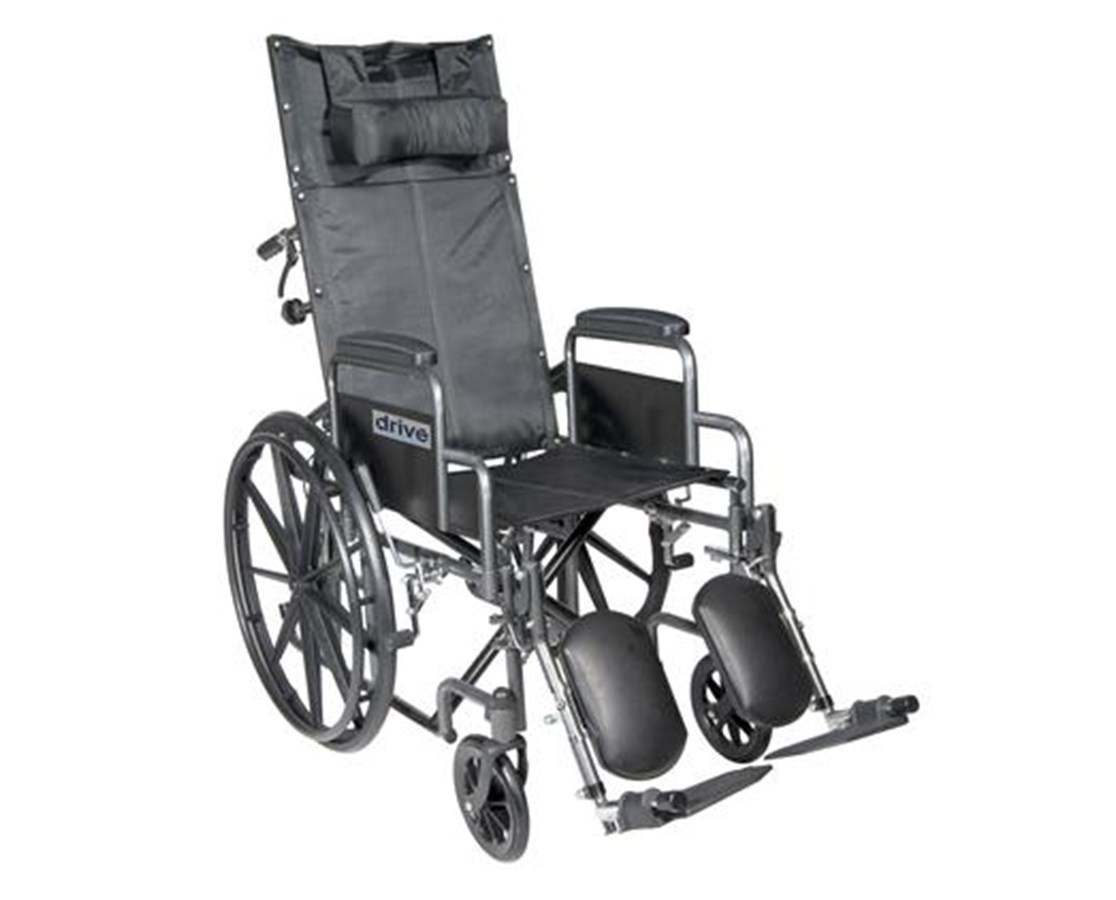 Silver Sport Reclining Wheelchair with Detachable Desk Length Arms and Elevating Leg rest DRISSP16RBDDA
