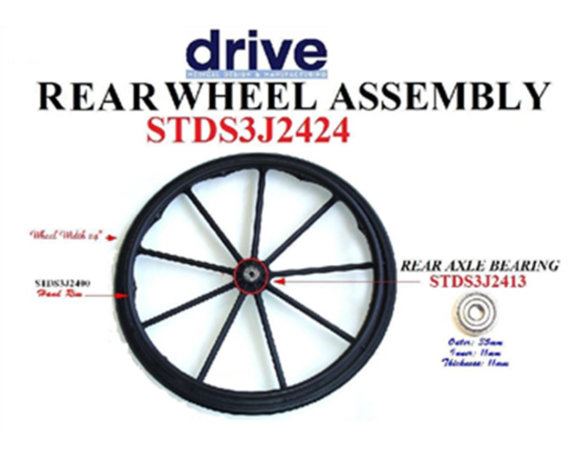 Rear Wheel Assembly for Cruiser 3 and Silver Sport 1 Wheelchair DRISTDS3J2424