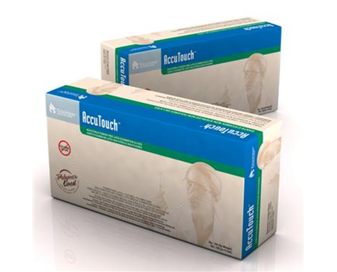 AccuTouch Latex Exam Gloves, Powder Free, PolyLined