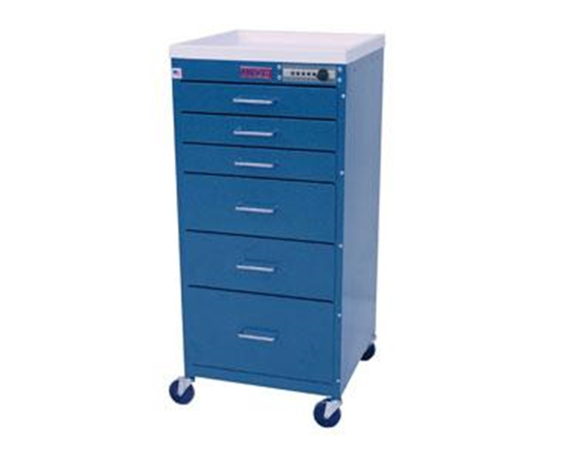 Mini Line Six Drawer Anesthesia Cart with Combination Lock HAR3156M-