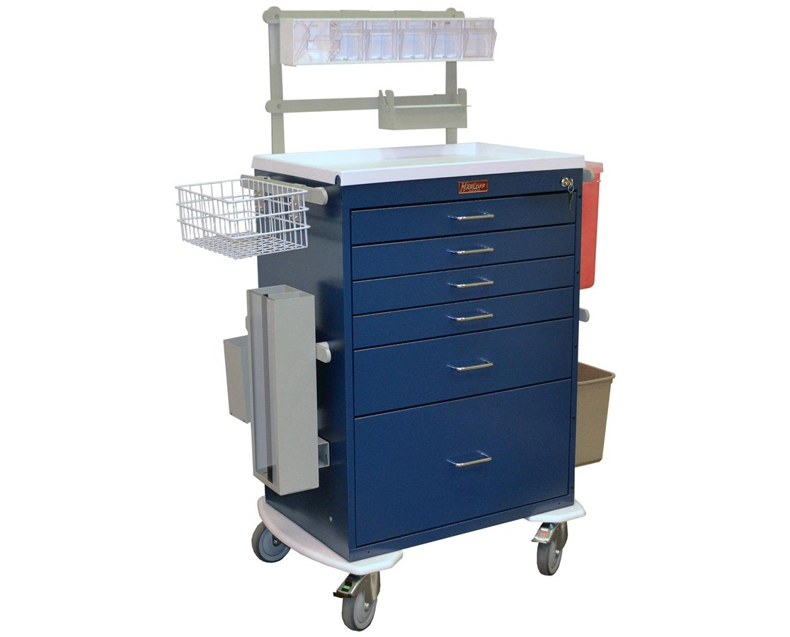 Classic Tall Six Drawer Deluxe Anesthesia Cart with Key Lock HAR6456-