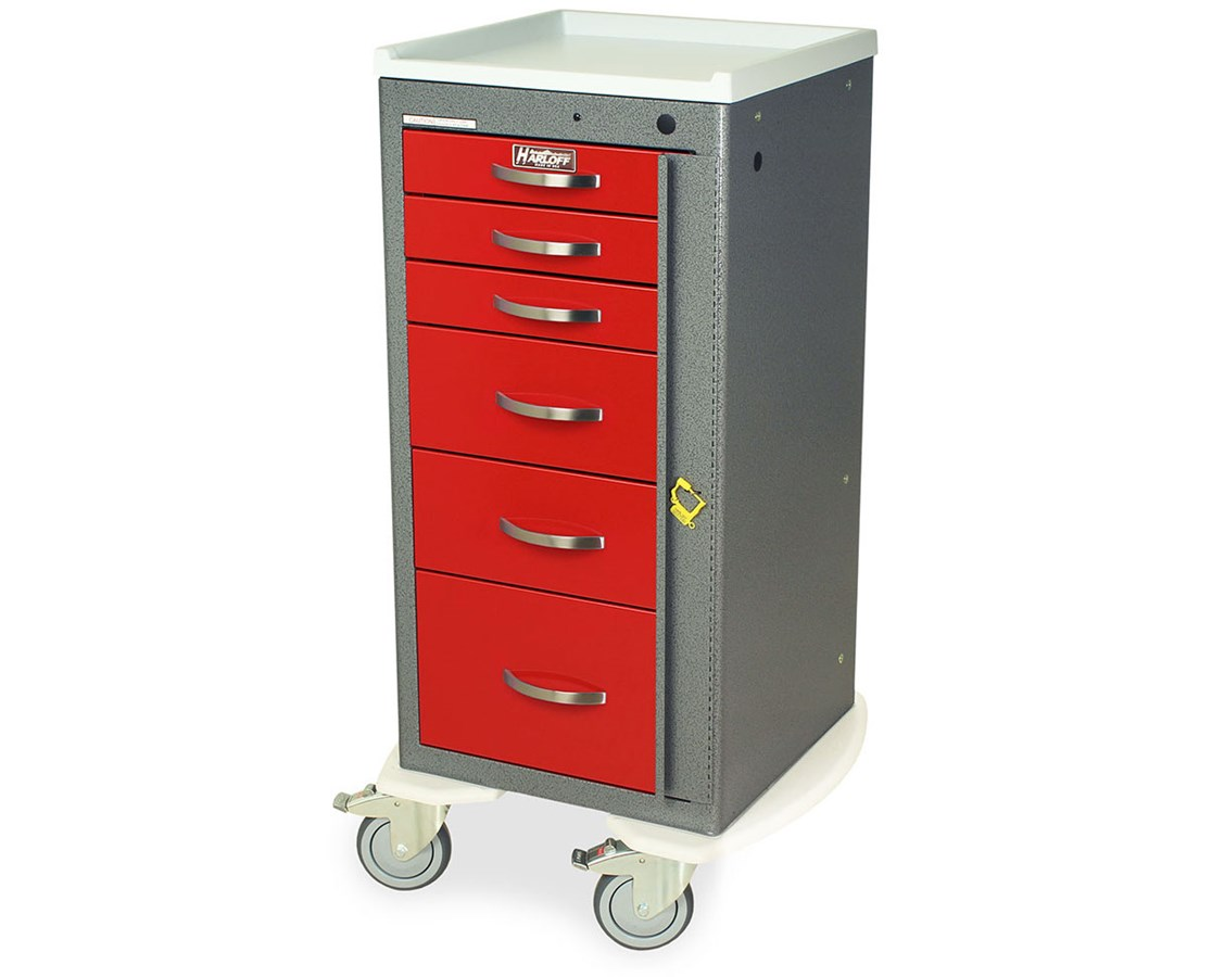 Mini Line Aluminum Six Drawer Emergency Cart HARAL3256B-