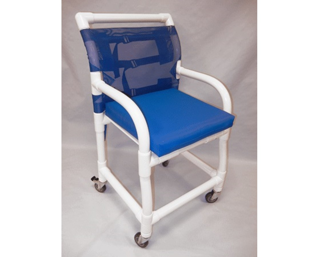 "PVC Shower Chair - Flat Seat With Cushion - 18"" Width HMPSC6013D-PAD"