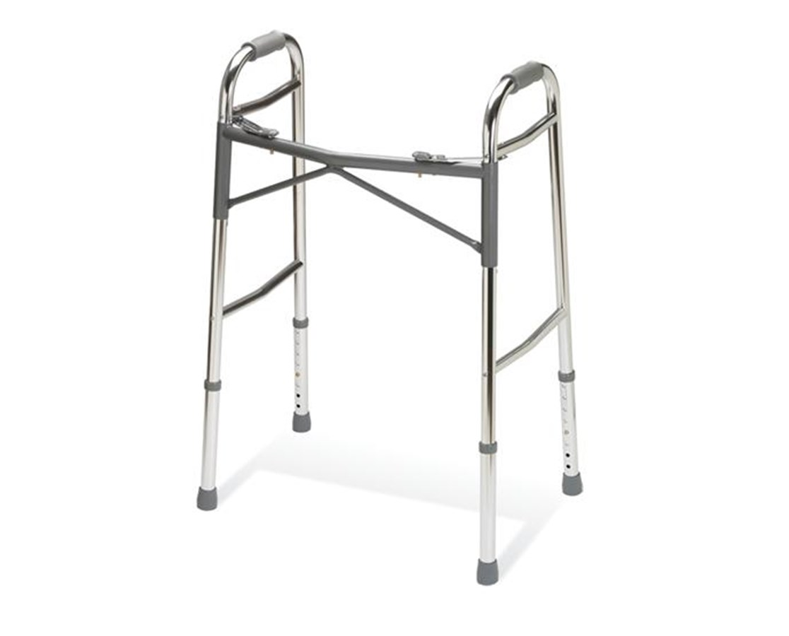 Gaurdian Heavy-Duty Adult Two-Button Folding Walker MEDG07767