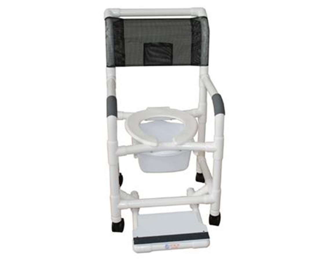 Commode Shower Chair with Sliding Footrest, Soft Seat & Double Drop Arms MJM118-3-SF-SQ-PAIL-SSDE-DDA