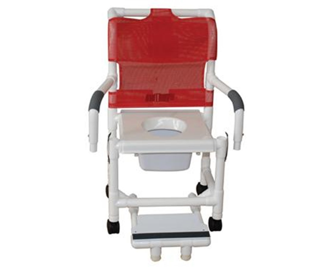 MJM118-3-VS-SFS-DDA-10-QTC Commode Shower Chair with Snap-On Seat, Double Drop Arms and Footrest