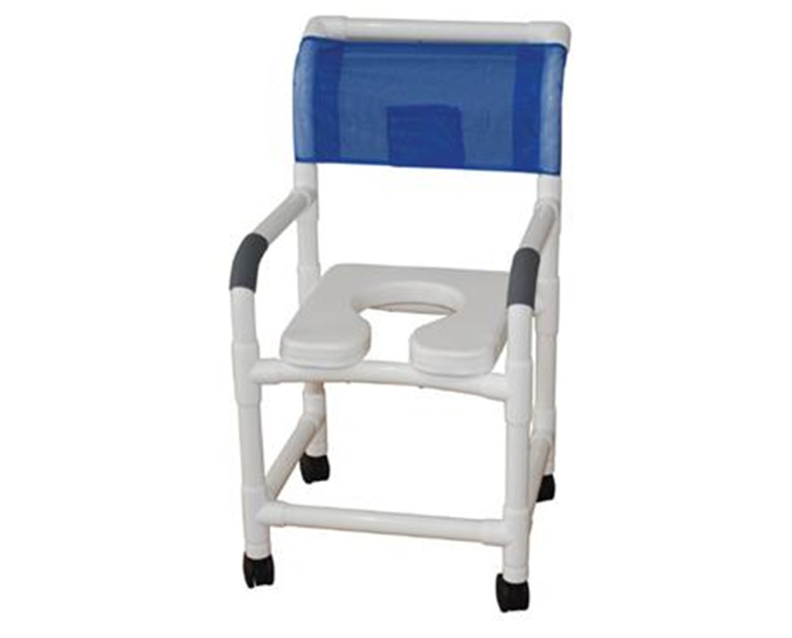"MJM122-3-SSDE-SF 22"" Wide Soft Shower Commode with Sliding Footrest"