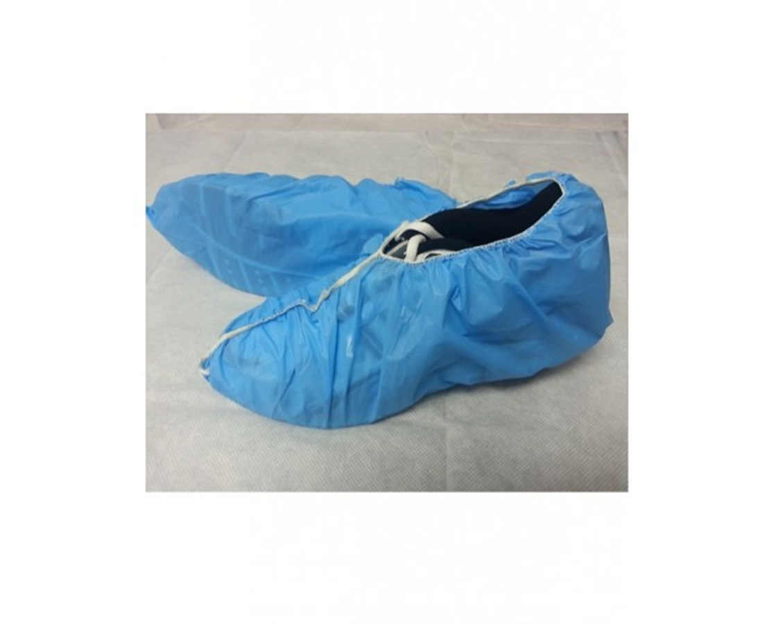 Blue Polyethylene Shoe Covers with Seamless Bottom SNTT121