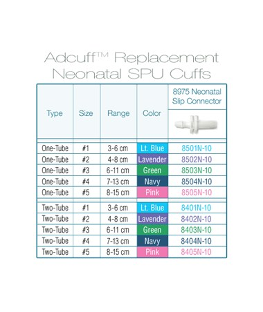 Adcuff size and color chart