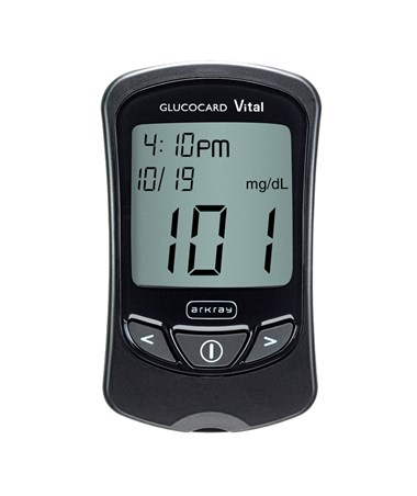 ARK761100- Glucocard® Vital™ Blood Glucose Black Meter Kit - On