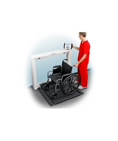 Detecto Geriatric Wall-Mount Fold-Up Wheelchair Scale with wheelchair