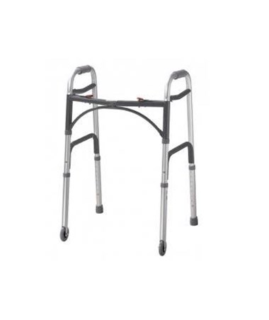 10206-4 Deluxe Folding Walker, Two Button with Wheels