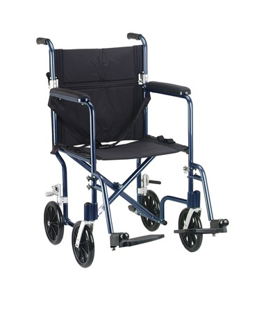 """Drive FW17BL Deluxe Fly-Weight Aluminum Transport Chair - Blue"""