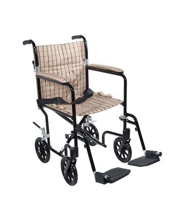 """Drive FW17DB Deluxe Fly-Weight Aluminum Transport Chair - Tan Plaid"""