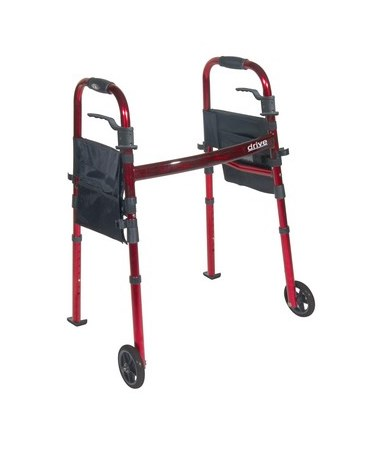 """Portable Folding Travel Walker with 5"" Wheels and Fold up Legs"" DRIRTL10263KDR"