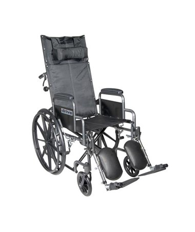 """Drive Silver Sport Reclining Wheelchair with Detachable Desk Length Arms and Elevating Leg rest"""