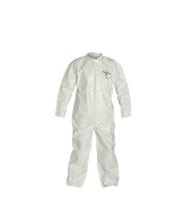 White Tychem SL Coverall with Bound Seams and Zipper Front DUPSL120BWH