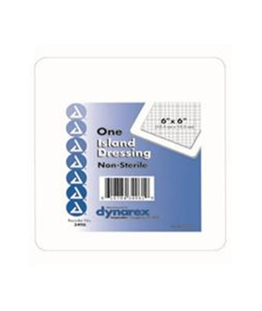 "Dynarex #3496 Island Dressing 6"" x 6"", Non-Sterile, 30 Dressings Per Box, 4 Boxes Per Case"