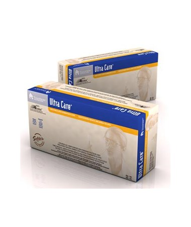 Ultra Care Latex Exam Gloves, Powderless, Polylined