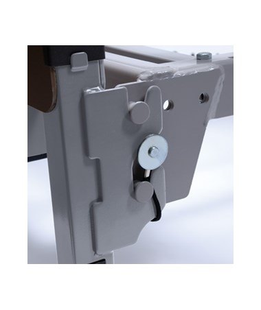 Locking pins secure frame to sleep deck