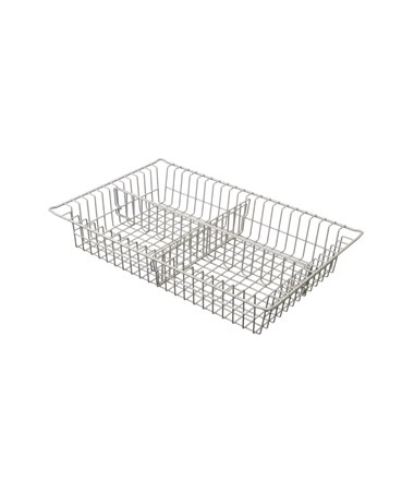 "Harloff 4"" Wired Basket with 1 Long Divider and 1 Short Divider for Mobile Medical Storage"