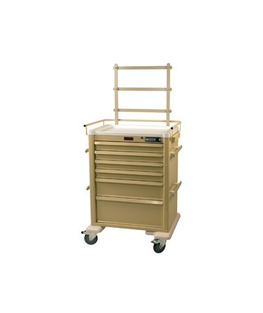 Harloff Universal Line 6 Drawer Anesthesia Cart with Mechanical Combination Lock, Accessories Package