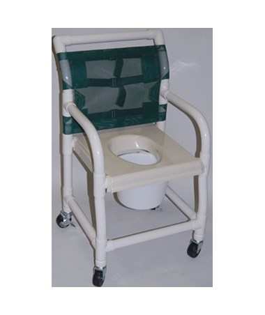 "PVC Shower Chair with Standard Commode Seat -18"" Width HMPSC6013S"