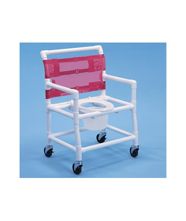 "24"" Wide PVC Shower Chair with Deluxe Elongated Commode Seat, Bar In Back and Pail HMPSC6014XBP"