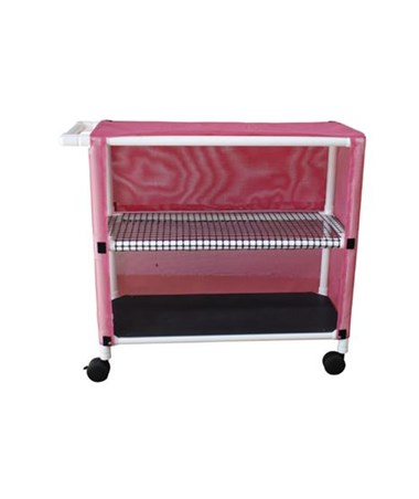 MJM 332T-2C Two Shelf Linen Cart with Open Area Shelf System