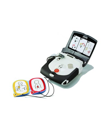 LIFEPAK Express Semi-Automatic AED Open with Electrodes