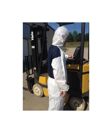 White Suntech Cool Coverall with Attached Hood and Front Zipper SNTCO127