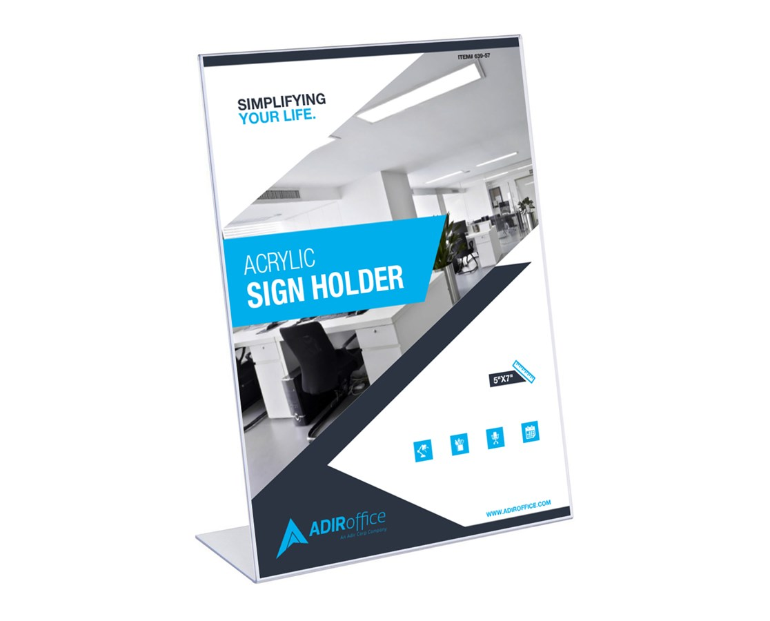 AdirOffice Slanted Side-Loading Sign Holder ADI639-57-3