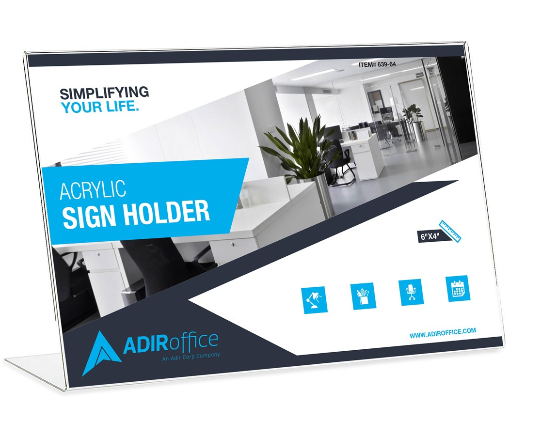 AdirOffice Landcape Slanted Side-Loading Sign Holder ADI639-64-3