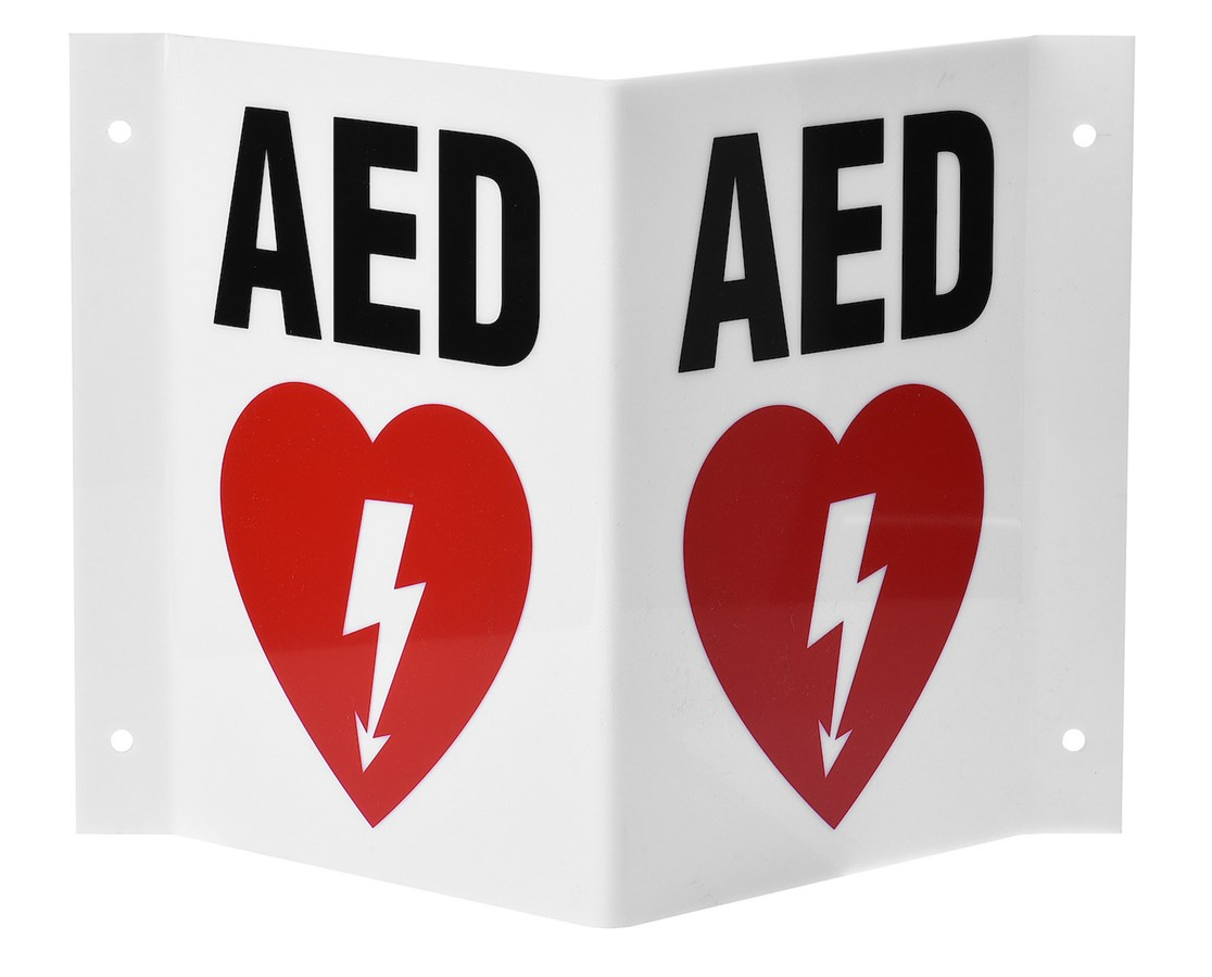 3D V-Shaped AED Sign ADI999-02