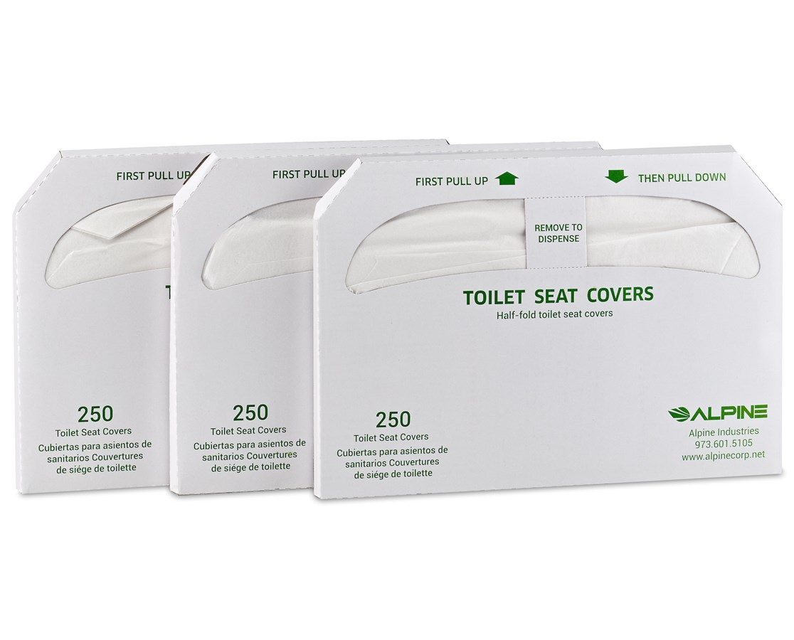 Half-Fold Flushable Toilet Seat Covers in 3-Pack, 250 Sheets ALPP400