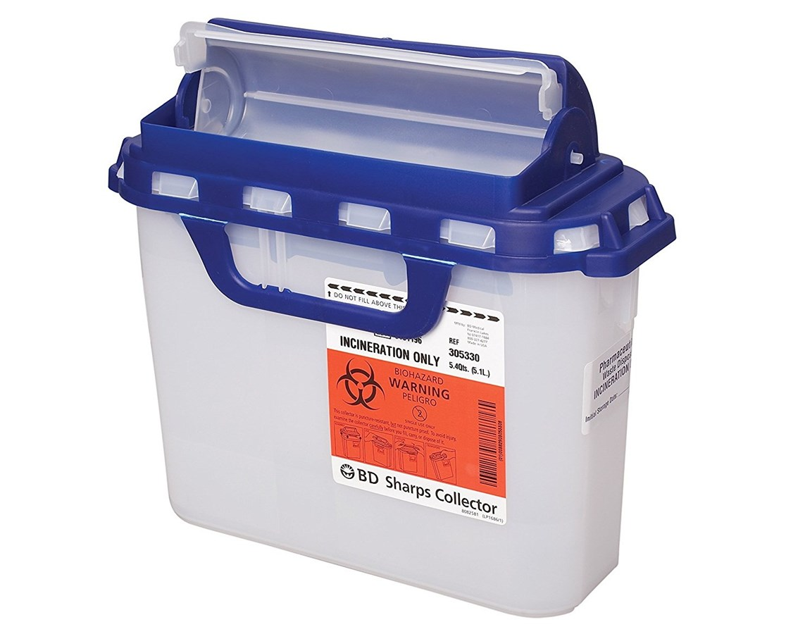 BD Recykleen™ 5.4 Qt Pharmaceutical Sharps Collector with Counterbalanced Door BD305058