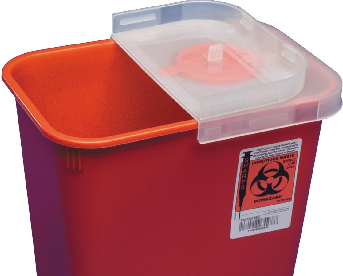 SharpSafety™ Red Sharps Container, Multi-Purpose,   Hinged Rotor Lid COV8527R-1-