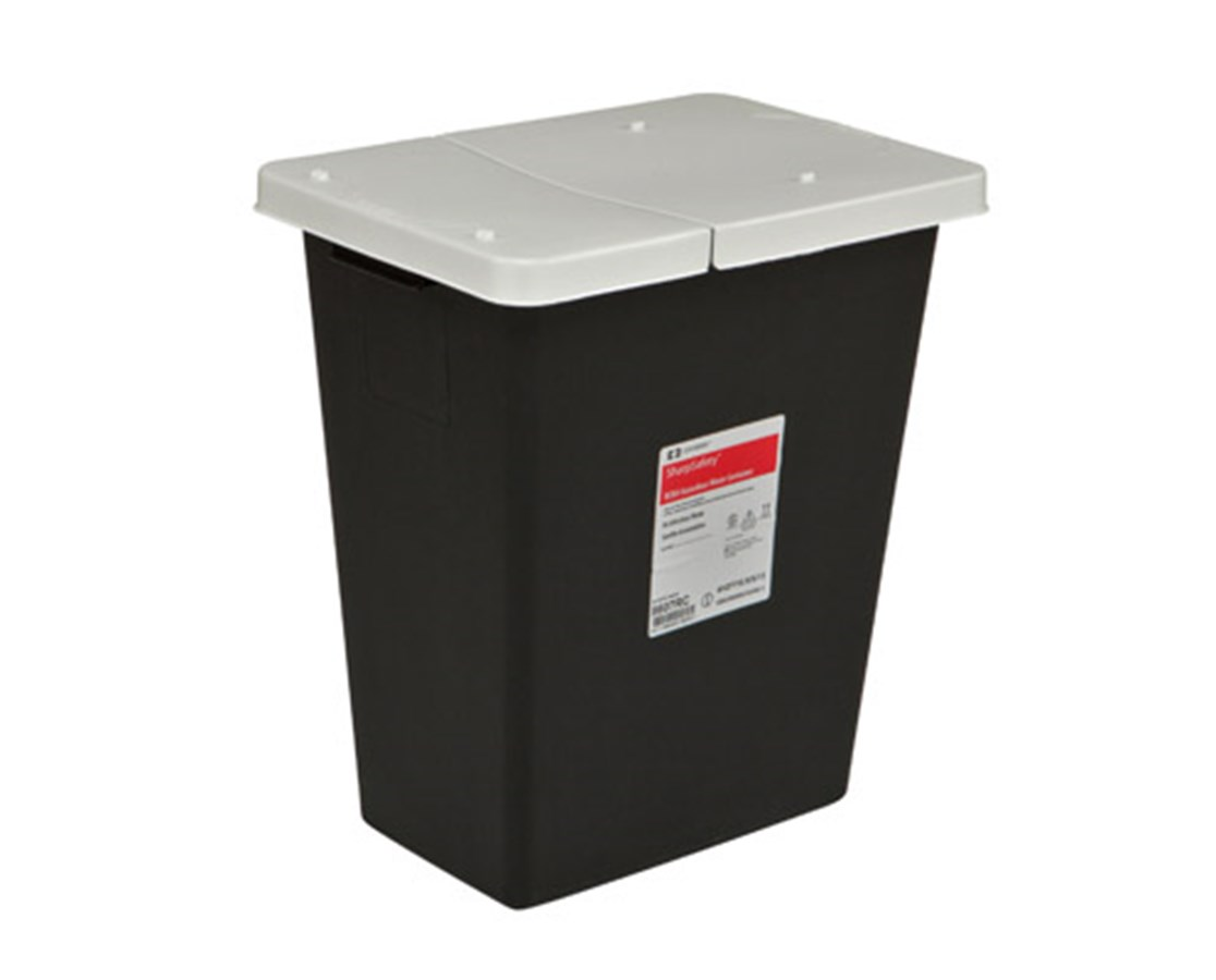 SharpSafety™ RCRA Hazardous Waste Container, Hinged Lid COV8617RC