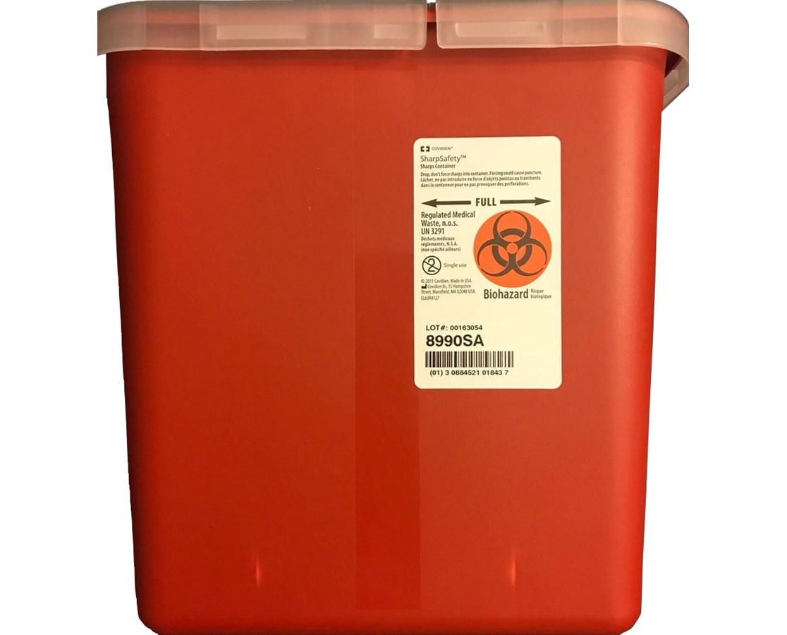 SharpSafety™ Multi-Purpose Red Container w/ Hinged   Opening Lid COV8990SA-1