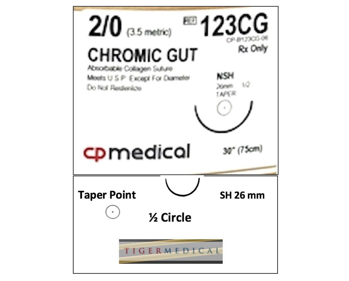 Chromic Gut Natural Absorbable Sutures with Taper Point Needles, 1/2 Circle, 12 per Box CPM123CG