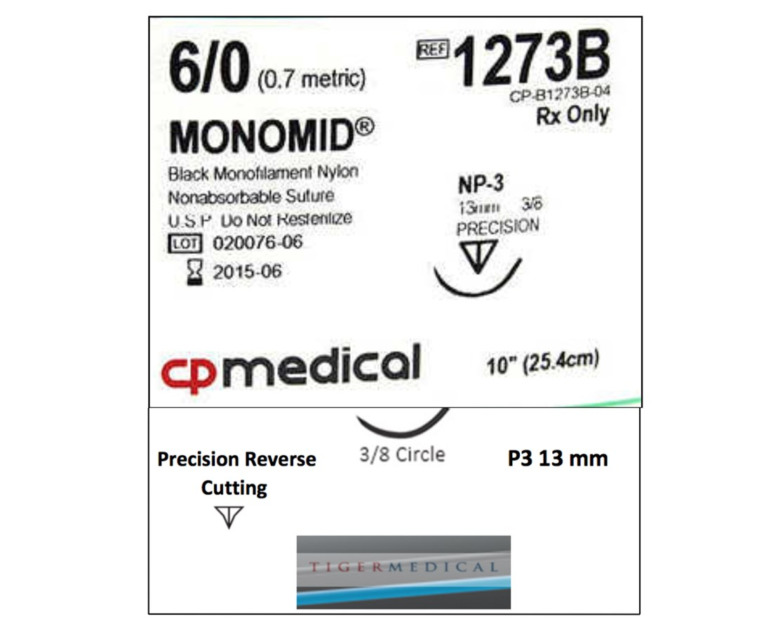 Monomid® Non-Absorbable Sutures with Precision Reverse Cutting P3 Needles, 3/8 Circle, 12 per Box CPM1273B