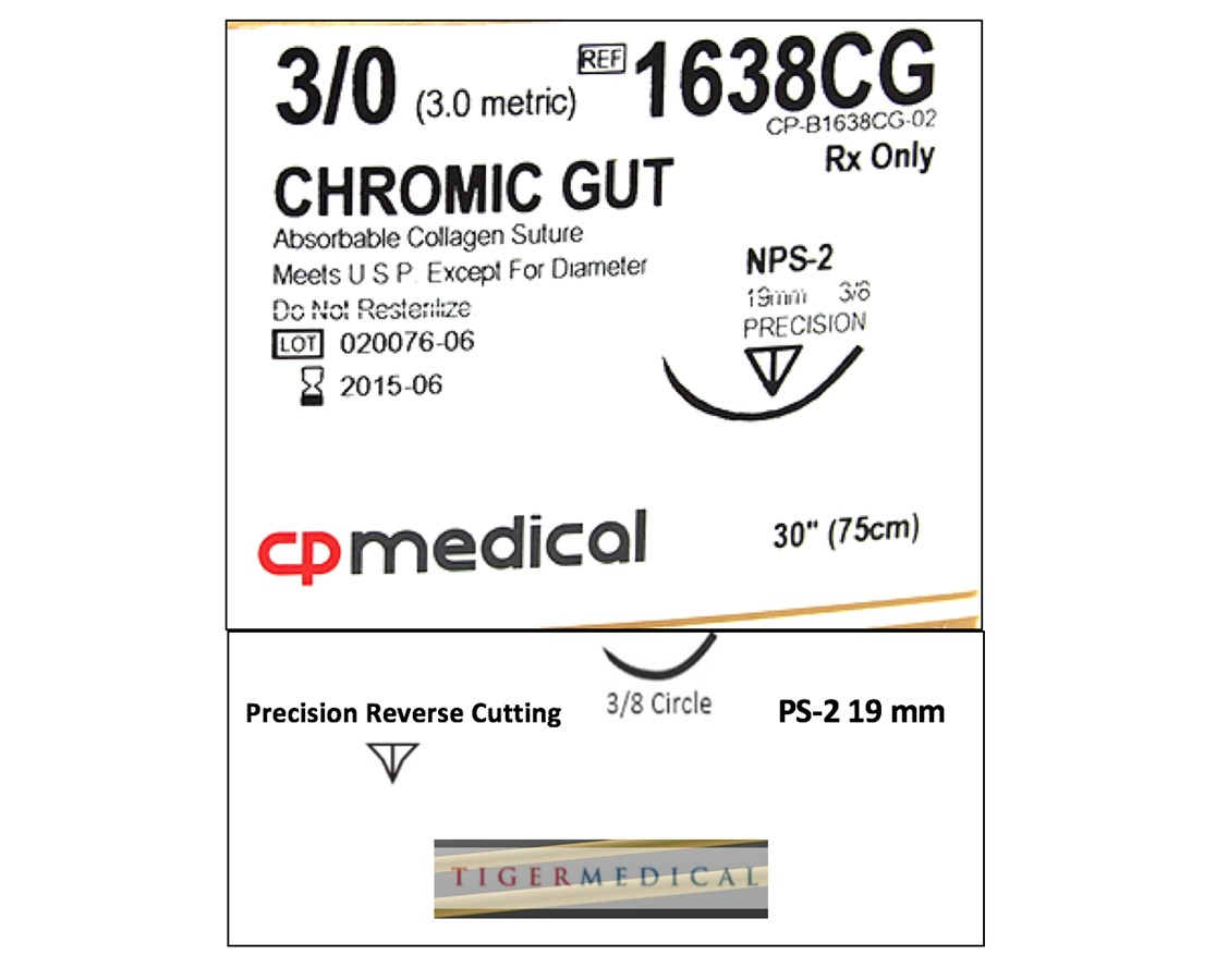 Chromic Gut Natural Absorbable Sutures with Precision Reverse Cutting Needles, 3/8 Circle, 12 per Box CPM558CG--COPY