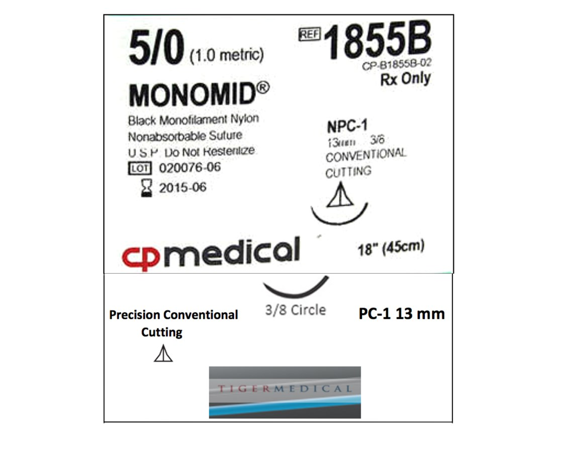 Monomid® Non-Absorbable Sutures with Precision Conventional Cutting Needles, 3/8 Circle, 12 per Box CPM1855B