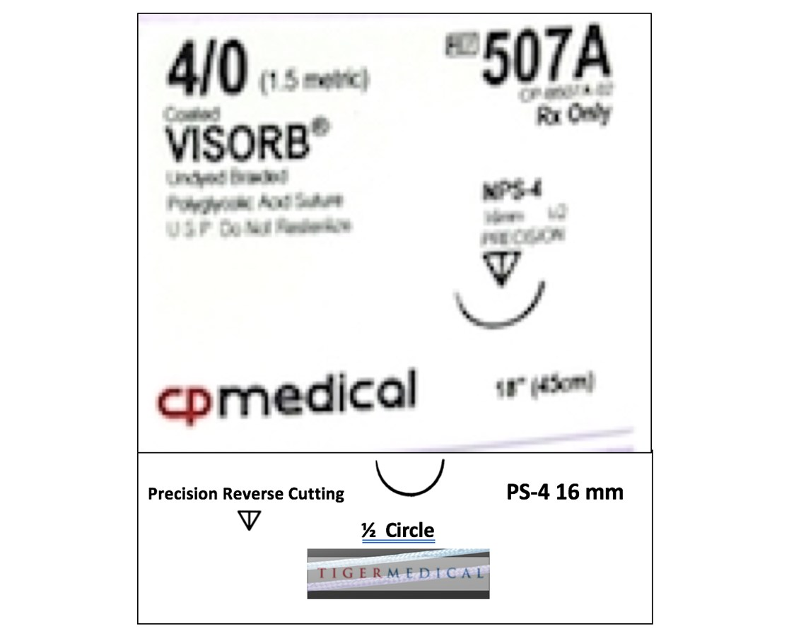 VISORB® PGA Synthetic Absorbable Sutures with Precision Reverse Cutting Needles, 1/2 Circle, 12 per Box CPM507A-
