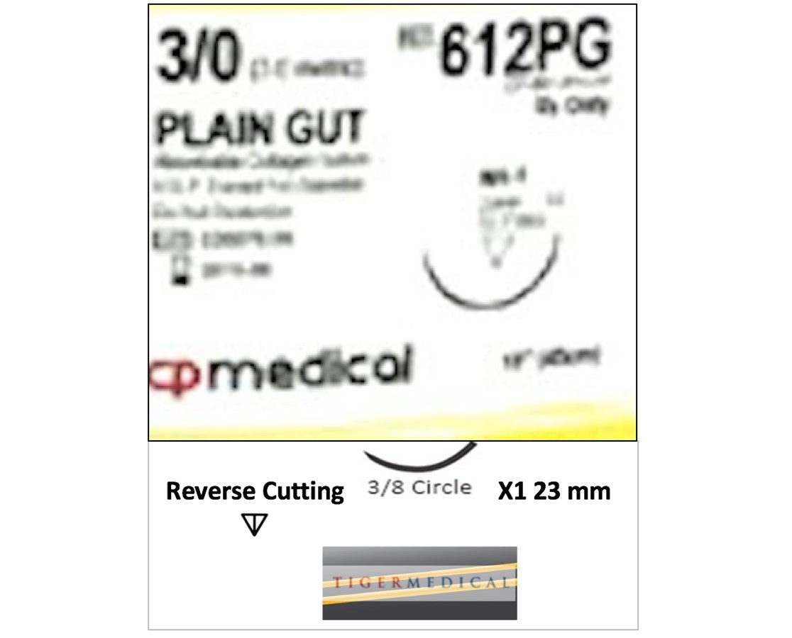 Plain Gut Absorbable Sutures with Reverse Cutting Needles, 1/2 Circle, 12 per Box CPM612PG