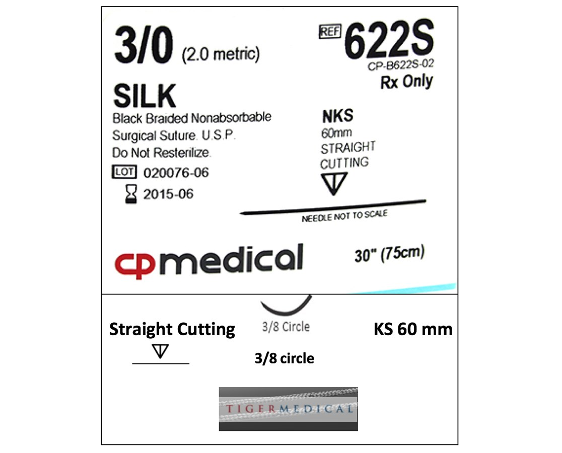 Braided Natural Silk Non-Absorbable Sutures with Straight Cutting Needles, 3/8 Circle, 12 per Box CPM622S
