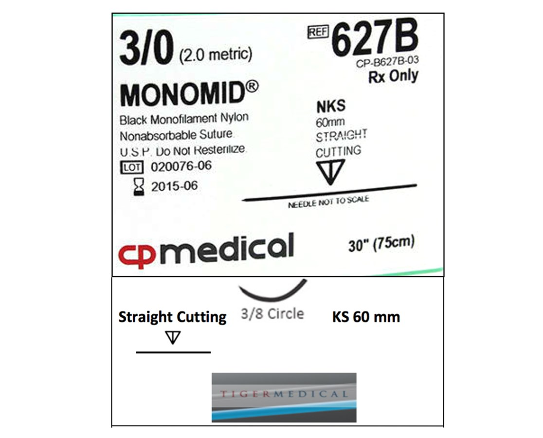 Monomid® Non-Absorbable Sutures with Straight Cutting KS Needles, 3/8 Circle, 12 per Box CPM627B