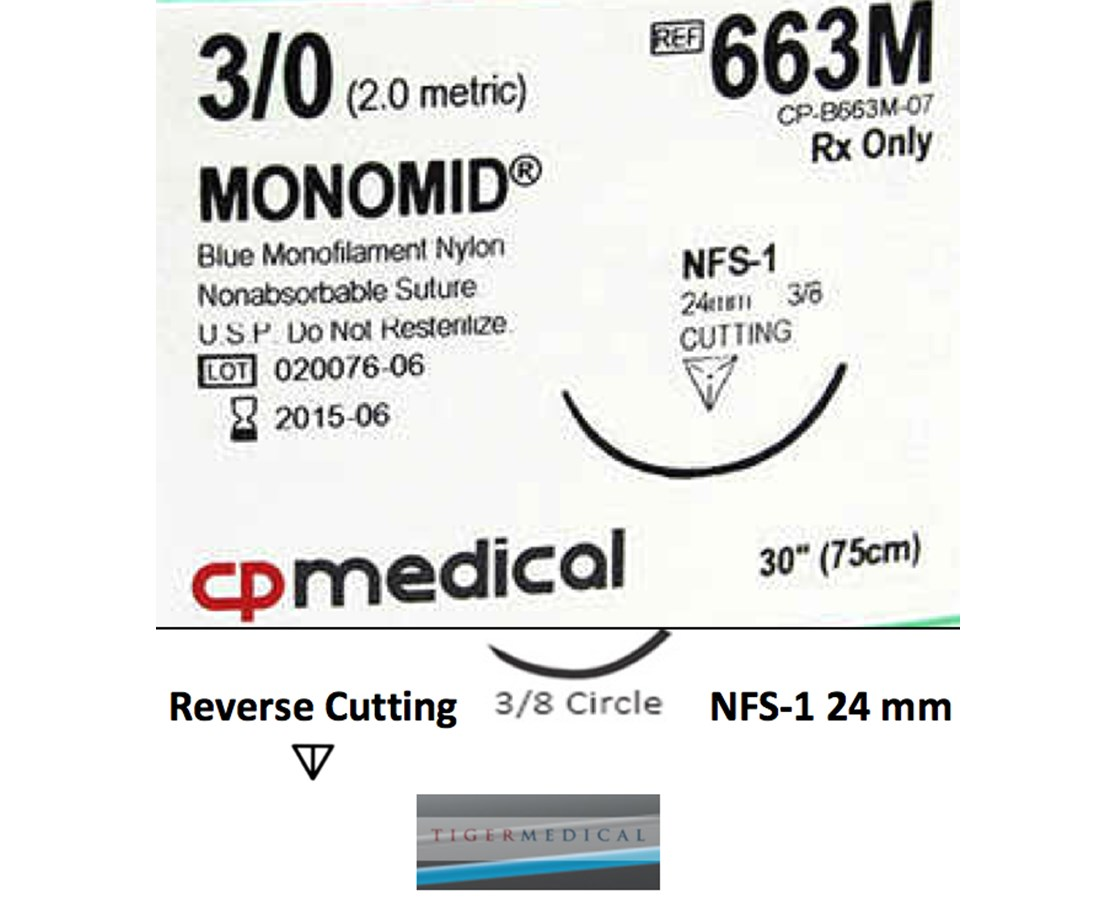 Monomid® Non-Absorbable Sutures with Reverse Cutting Needles, Size 3-0, 3/8 Circle, 12 per Box CPM 663M